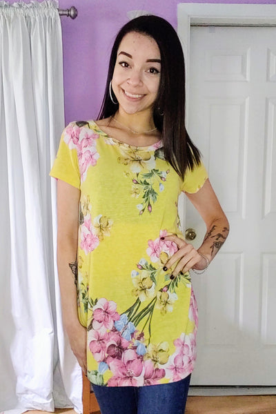 Lively Yellow Floral Top