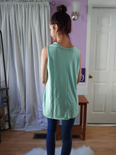 Load image into Gallery viewer, Minty Striped Flowy Tank (S-XL)