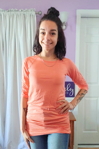 Raven Ruched Side Top in Coral (S-XL)
