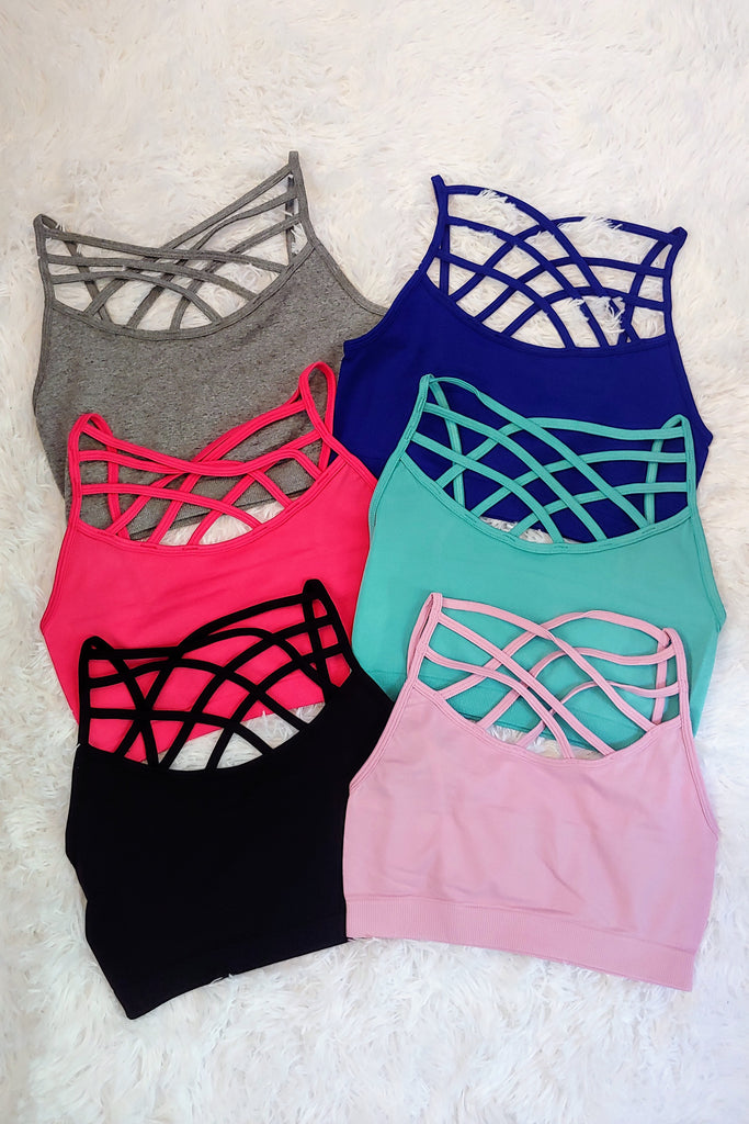 Criss Cross Bralette in 6 colors  (S-XL)