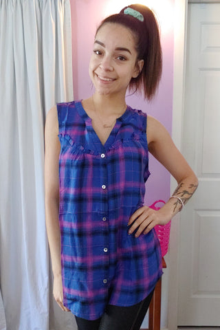 Perfect Plaid Lace Back Tank