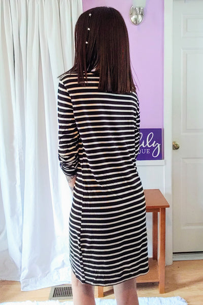 Macy Striped Dress in Black