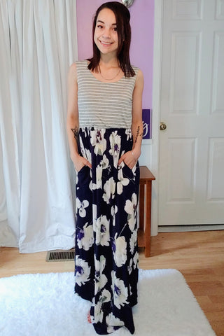 Natalie In Navy Maxi Dress (S-XL)