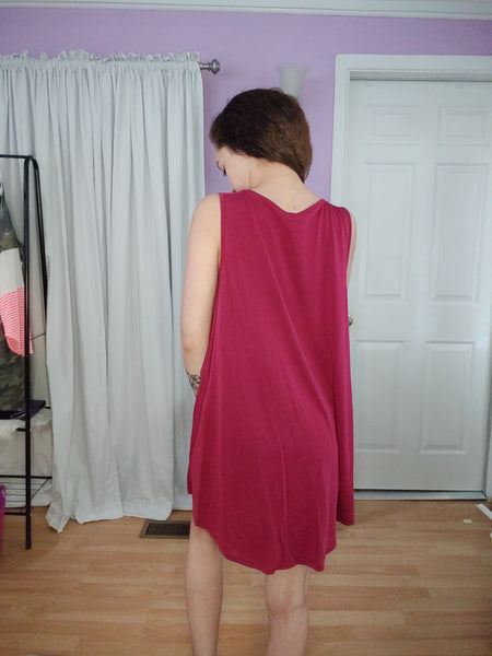 Burgundy Star Twist Tank