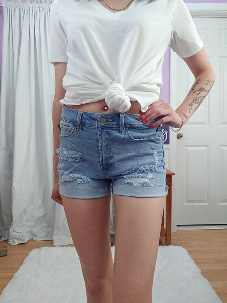 Marcy Distressed Med Jean Shorts (S-3X)