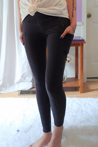 Cotton Mix Leggings in Charcoal (S-XL)