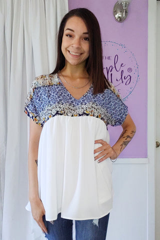 Flowy Floral Ivory Top (S-XL)