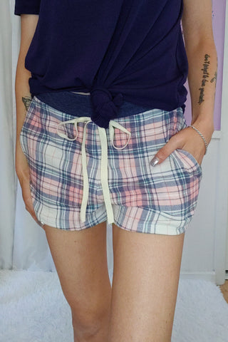 Navy and Pink Plaid Shorts (S- XL)