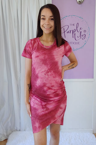 Burgundy Tie Dye Fitted Dress