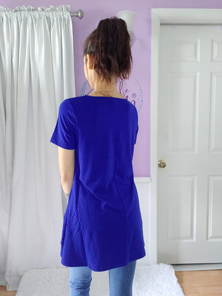 Tara Cross Tee in Royal (S-XL)