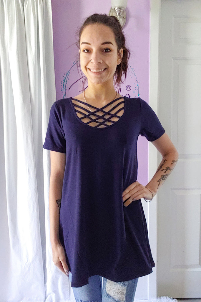 Tara Cross Tee in Navy (S-XL)