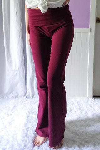 Solid Yoga Pants in Burgundy (S-XL)