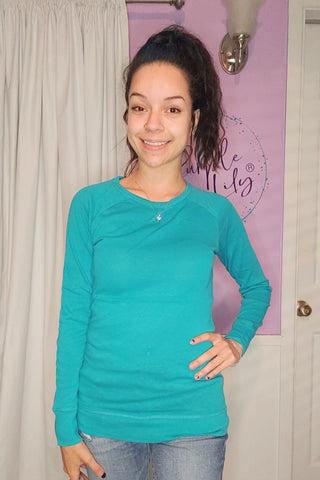Basic Long Sleeve Top in Turquoise