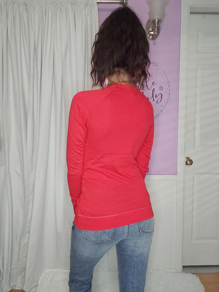 Basic Long Sleeve Top in Red