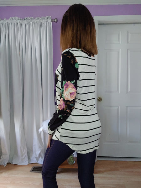 Black Striped Floral Sleeve Top (S-XL)