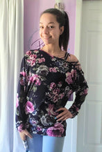 Load image into Gallery viewer, Floral Cold Shoulder Dolman (S-XL)