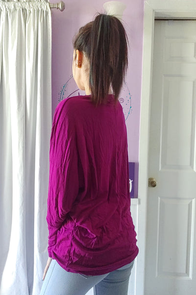 Cutout V-neck Dolman in Magenta (S-XL)
