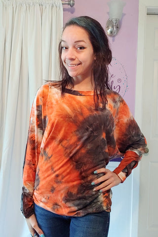 Celeste X Wrist Dolman in Orange Tie Dye (S-XL)