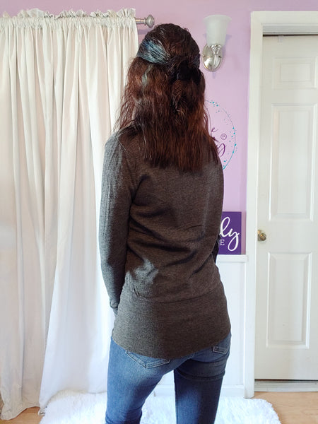 Slim Cardigan in Charcoal (S-XL)