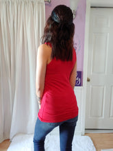 Load image into Gallery viewer, Lace Lined Neck Tank in Red
