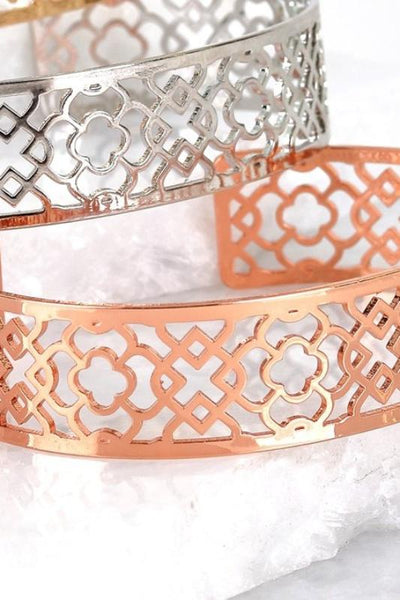 Moroccan Cuff Bracelet in Silver or Rose Gold