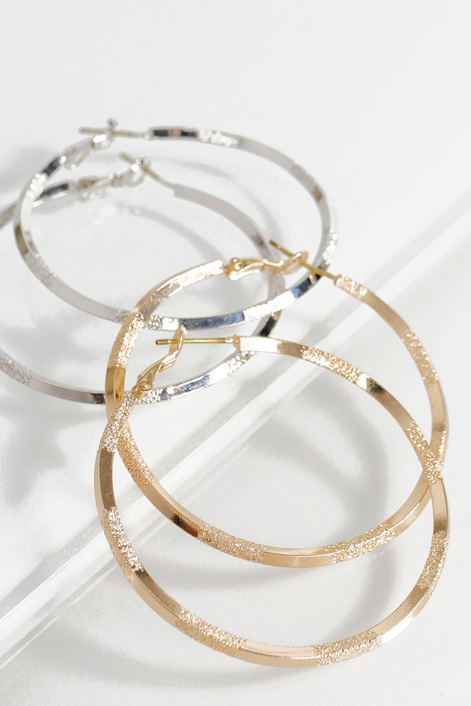 Solid and Texture Mix Hoop Earrings (Silver or Gold)