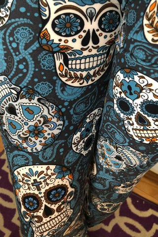 Blue Paisley Skulls Leggings (Super Soft)