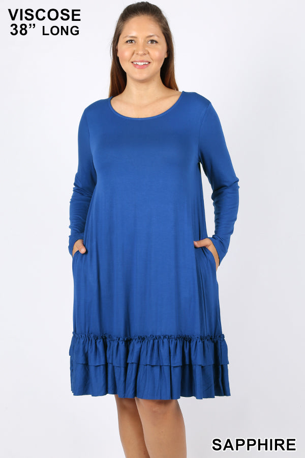 Ruffled Up Dress in Sapphire (1X-3X)