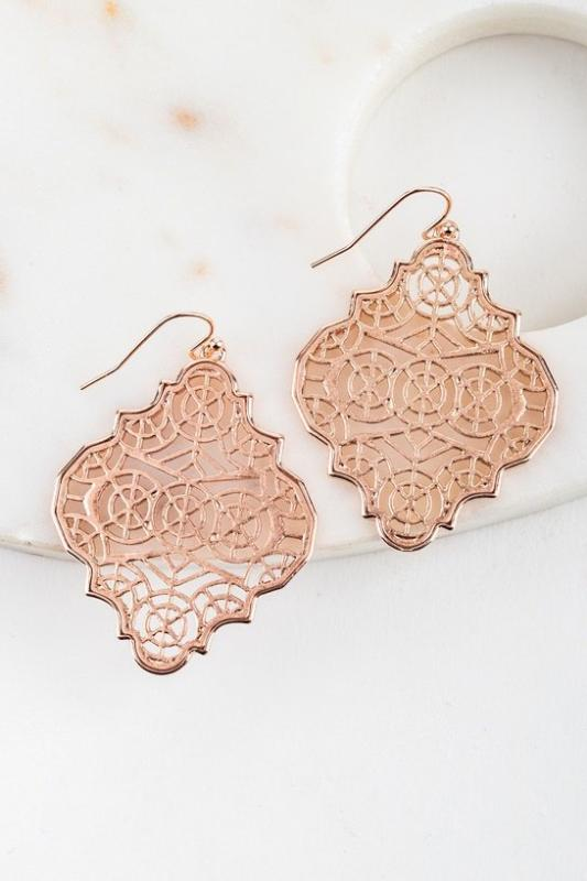 Rose Gold Moroccan Filigree Earrings