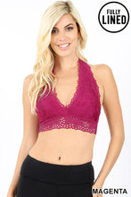 Load image into Gallery viewer, Halter Flower Lace Bralette in Purple (S-XL)