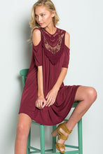 Load image into Gallery viewer, Burgundy Lace Cold Shoulder Dress