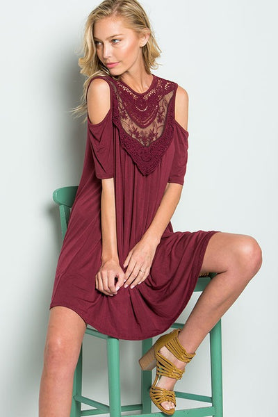 Burgundy Lace Cold Shoulder Dress
