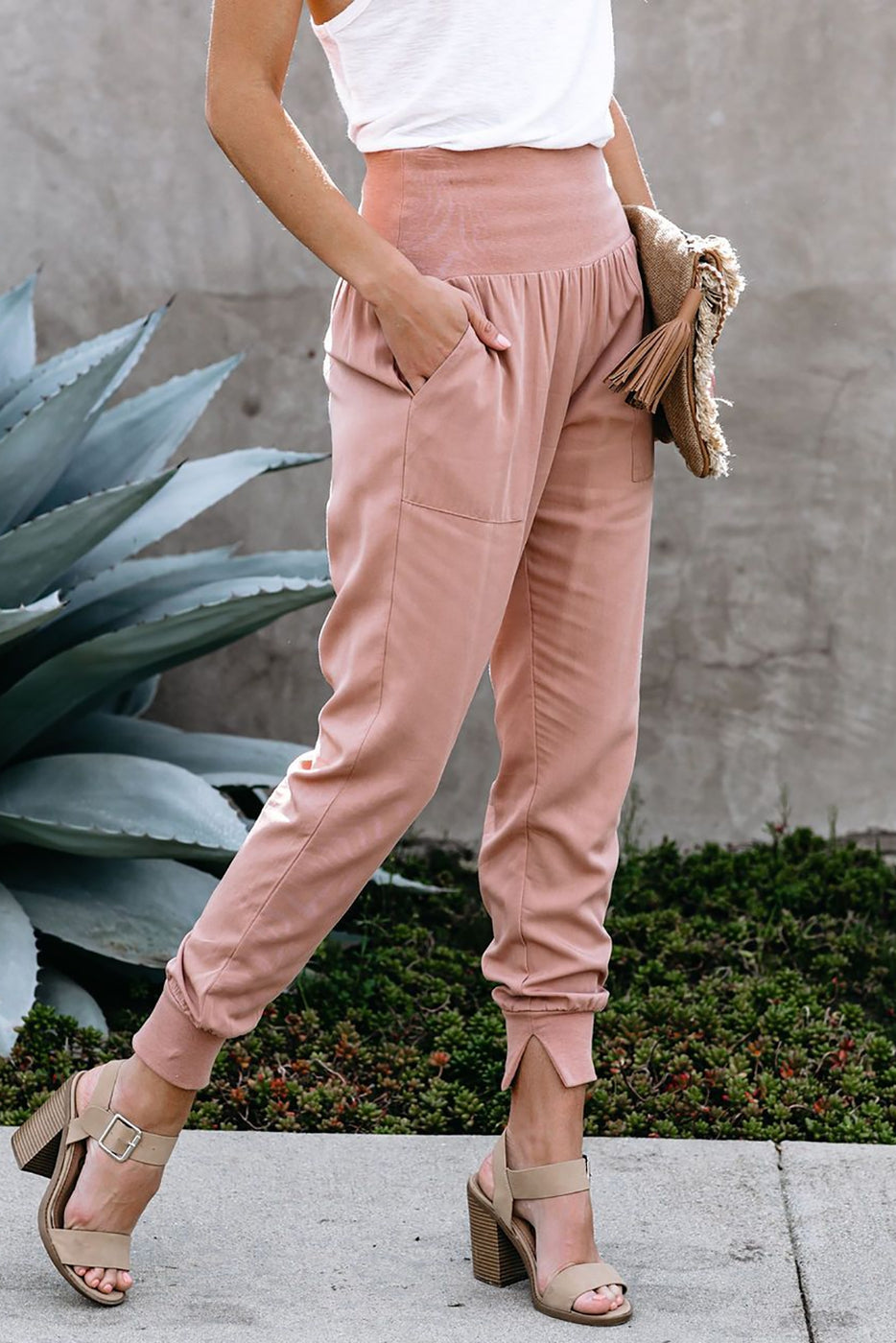 Pink Wide Band Waist Jogger (S-XL)