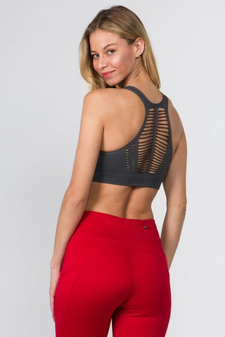 Charcoal Cut Out Sports Bra Tank