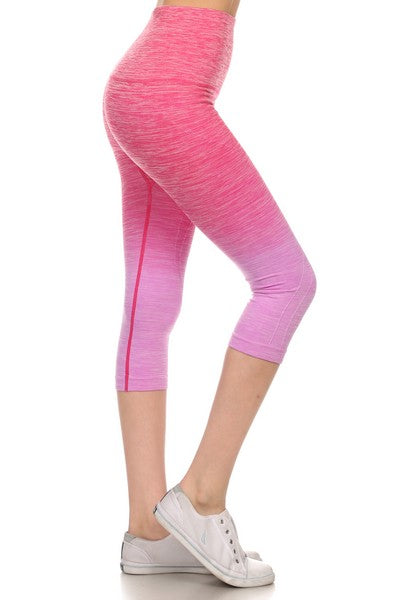 Dark to Light Aqua Ombre Workout Capris