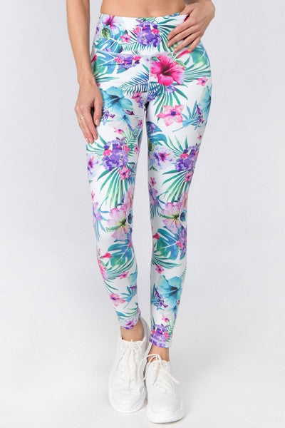 Trinity Tropical Ivory Workout Leggings