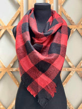 Load image into Gallery viewer, Buffalo Plaid Half Size Blanket Scarf in Red