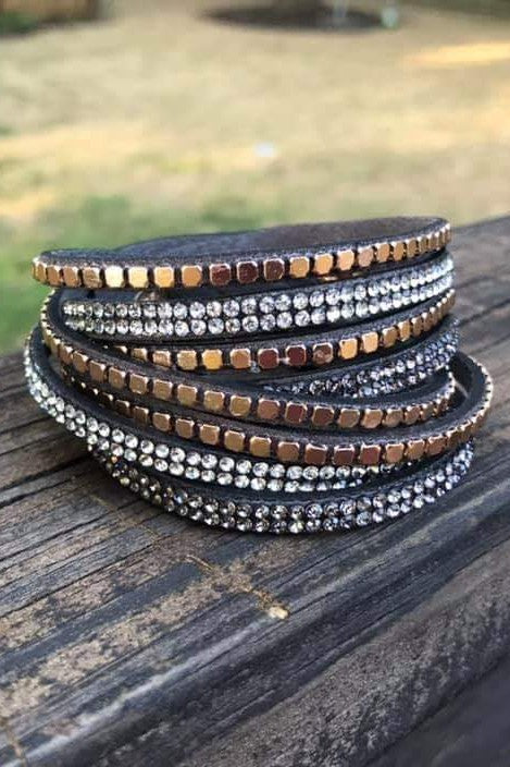 Twisted Stud Bracelet Charcoal