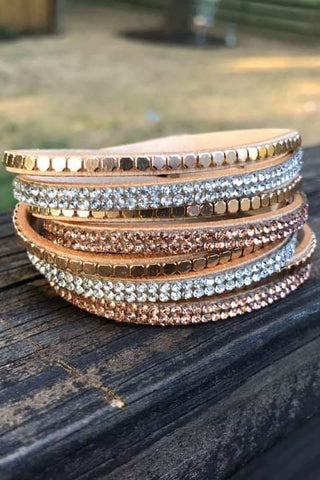 Twisted Stud Bracelet Tan