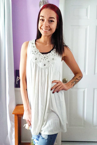 Holly Ivory Beaded Tank