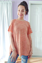 Load image into Gallery viewer, Rust Two Tone Cold Shoulder Top