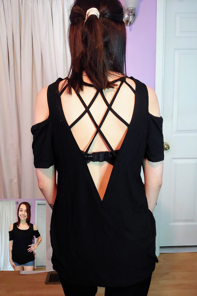 Black Open Back Cold Shoulder Top
