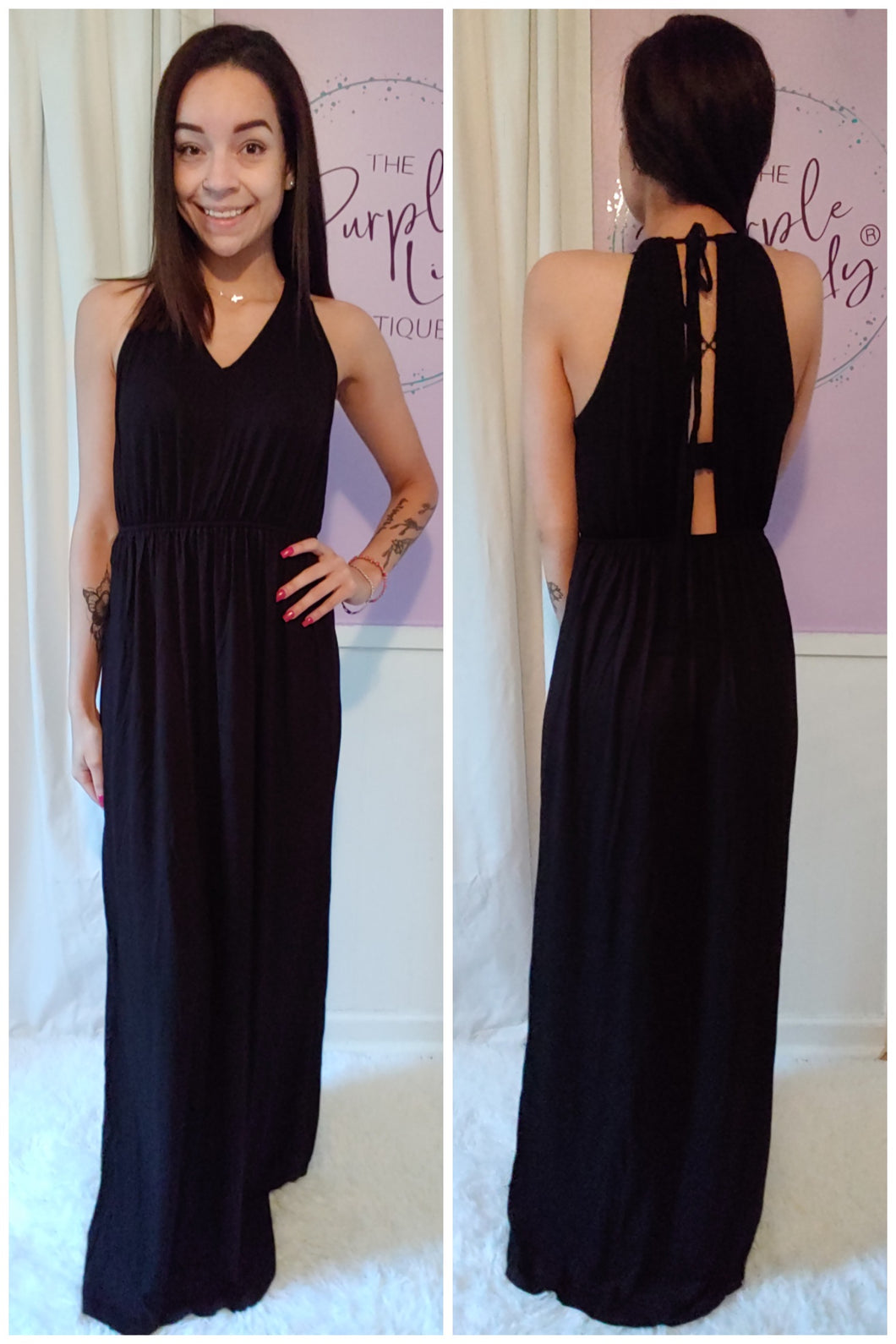 Solid Black Maxi Dress (S-XL)