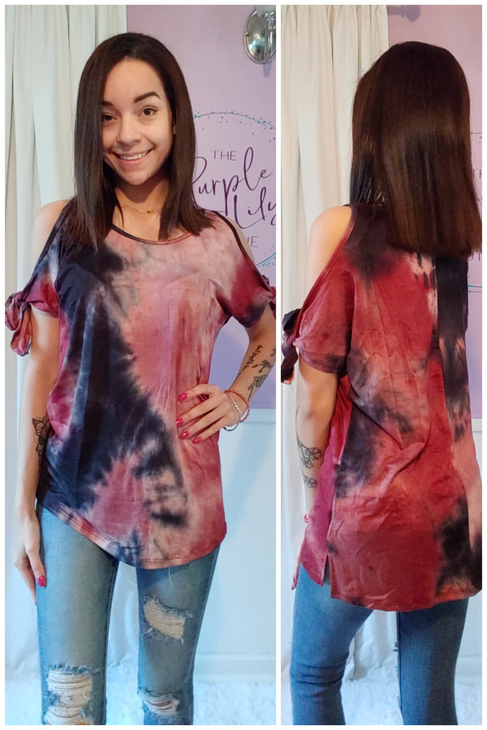 Burgundy Tie Dye Cold Shoulder Top (S-XL)
