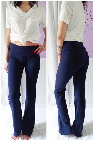 Solid Yoga Pants in Navy (S-XL)
