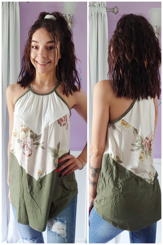 Olive Floral Tank (S-XL)