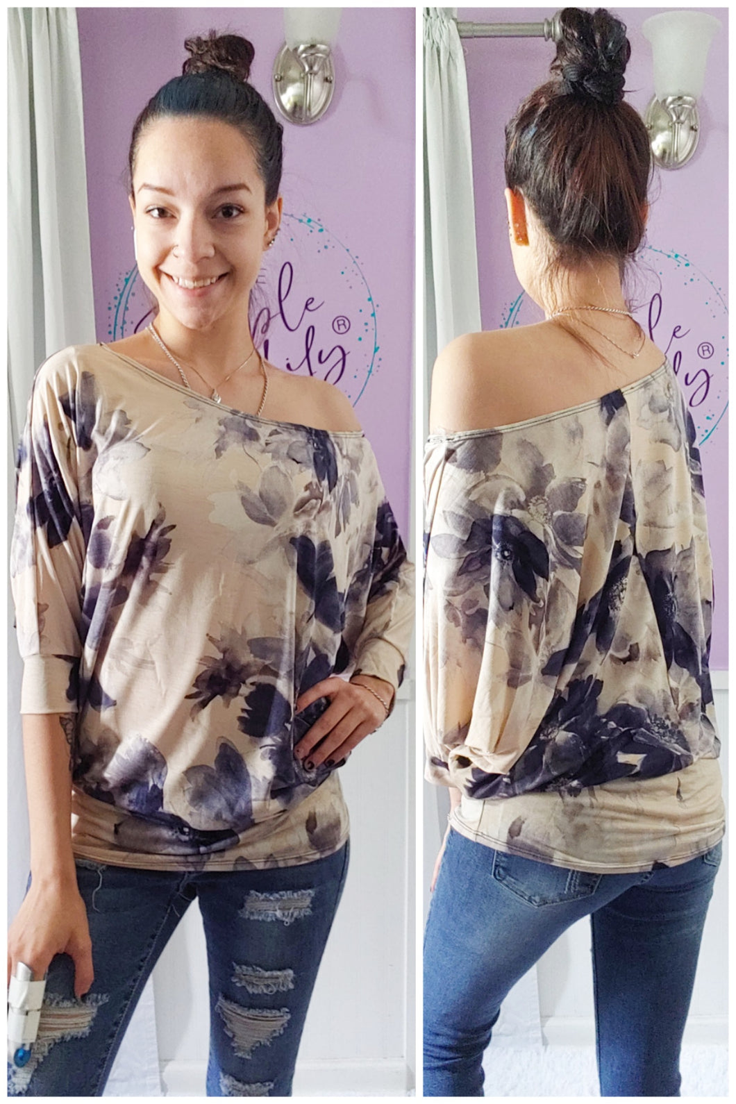Navy Big Flower Dolman (S-XL)