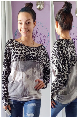 Snow Leopard Tie Dye SUPER Soft Dolman (S-XL)