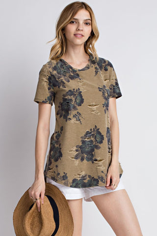 Olive Floral Distressed Tee