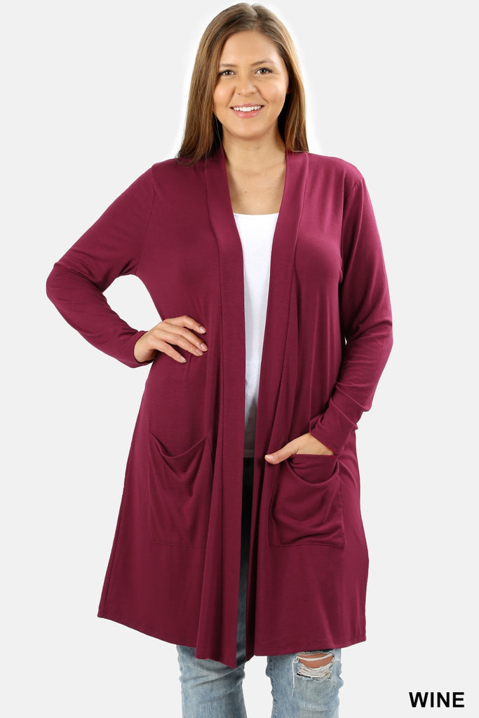 Gina Cardigan in Wine (1X-3X)